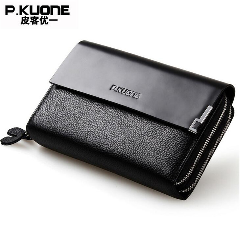 P.KUONE Cow Leather Wallet Luxury Business Mens Purses And Handbags Genuine Leather Long Wallet Classic Purses Clutch Bag M320<br>