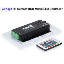 2pcs Black 12V 24 Keys RGB Music LED Controller Sound Sensor With RF Remote Control For SMD 3528 5050 RGB LED Strip