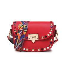 2017 Guangzhou Hot sale Rivet Vintage PU Leather Female Handbag Fashion Messenger Bag Women Shoulder Bag(China)