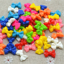 10*14mm resin small cute bow flat back for ornament 50pcs multicolor