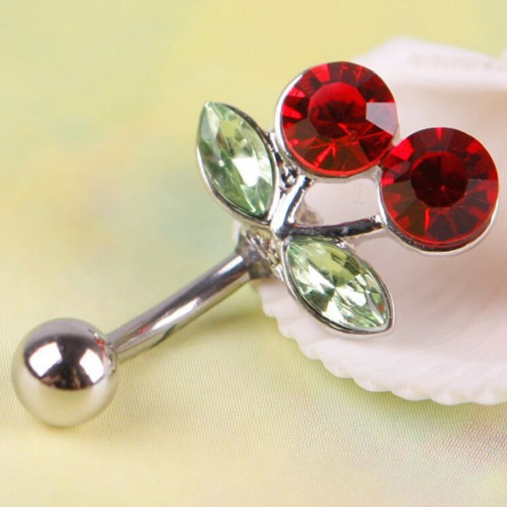 High grade new 1Pc Rhinestone Belly Button Red Cherry Navel Barbell Ring Body Piercing
