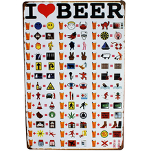 I LOVE BEER Vintage Metal Beer Sign Retro Tin Plague for Restaurant Menu photo on wall Art Display decor LJ4-11 20x30cm B1(China)