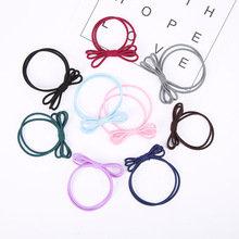 Double Bands Triple Bows Elastic Hair Bands Knotted 4 Solid Colors Rubber Bands for Girls Women Headwear
