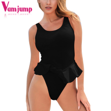 Buy VamJump Cute Strap Backless Falbala Swimwear Women One Piece Swiming Suit Women Monokini 2018 APSW6315 Swimwear Bathing Suit for $12.99 in AliExpress store