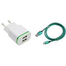 2 USB Adapter 5V 3A EU US Plug LED Light Mobile Phone Wall Charger Device Charging +  nylon Micro usb Sync Data Charging cable