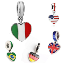 Heart Shape United States Italy Germany Brazil United Kingdom Flag Big Hole Charm Pendants DIY Silvering Beads Oil-drip Pendant(China)