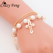 New Simple Design Charm Bracelet For Women Jewelry Multilayer Gold Imitation Pearls Beads Chains Bracelets & Bangles