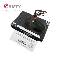 2 Pcs/lot Quantum Scalar Pendant Health Energy Necklace Lava Material with Retail box & Rope Chain Black Charms(China)