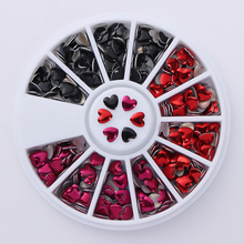 1 Box Mixed Color Rhinestone Heart Design 3D Nail Art Decoration in Wheel Manicure DIY Nail Art Decoration(China)