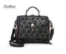 Match the real Fashion Leather Messenger Bag Women Bag Tote Bag Purse Tote Handbag Female Bag Rivet Skull Dollar(China)