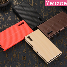 "Ultra-thin Carbon Fiber Leather Case For Sony Xperia XZ Case Flip 5.2"" Wallet Stand Phone Cover For Sony Xperia XZS Case Capa"