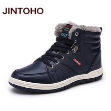 JINTOHO Winter Men Fashion Leather Boots Casual Men Leather Moccasin Brand Winter Men Shoes Men Ankle Boots Cheap Cowboy Boots(China)