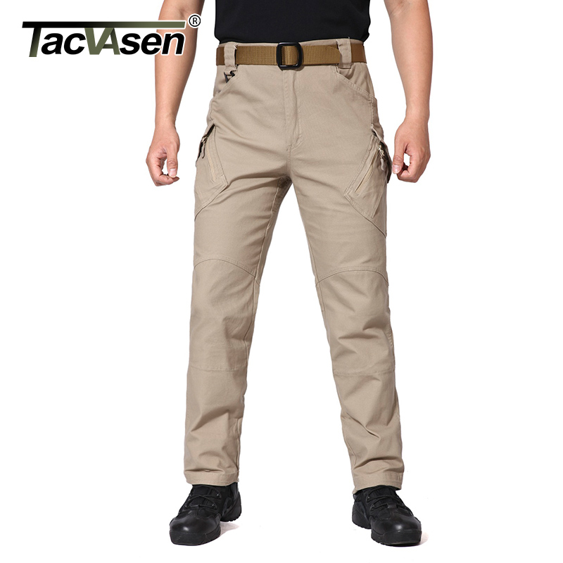 Image TACVASEN IX9 Men Tactical Pants Breathable Men s Cargo Pants Multi Pockets Slim Casual Pant Male Army Military Combat Trousers