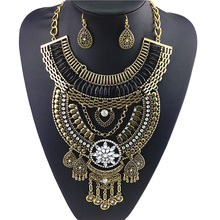 2016 Women's Fashion Bohemian Fringed Stainless Steel Necklaces Pendant Necklace Magnetic Sound Big Pendant Long Chain Necklaces(China)