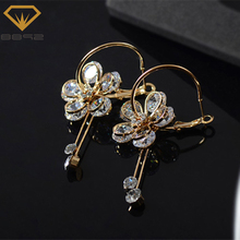 8892 Gold-color Circle Flower drop Earrings With CZ Crystal Jewelry For Women Vintage Bride Earrings Wholesale