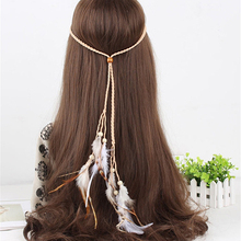 Women Fashion Bohemian Handmede Feather Headband Hippie Braided Hair Accessories(China)