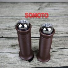 Vintage Motorcycle Grips  Cafe Racer Round Brown  Black Grips for Handle Bar Rubber material