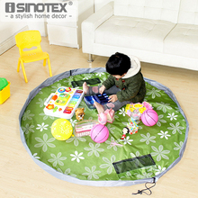Portable Tote Bag Kid Drawstring Storage Bag Round Oxford Cloth Play Mat Toy Organizer Box Children Collection Pad Quick Collect(China)