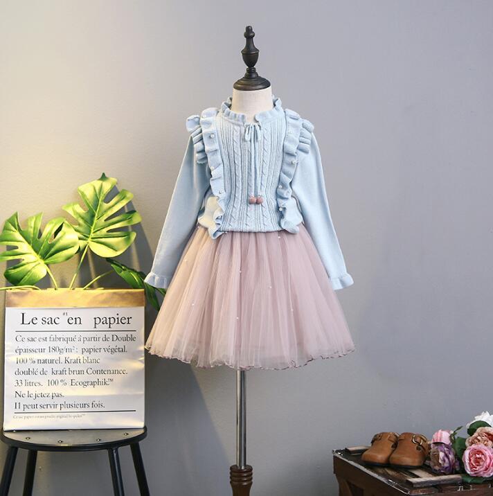 1807081 2018 Baby Girls Dress Flower Sweater With TUTU Dress Kids Outerwear Girls Clothes Set Girls Princess Dress Birthday<br>