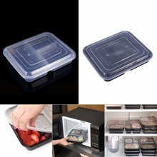 10pcs/Lot 3 Compartments Food Storage Containers w/ Lids Bento Lunch Box Picnic Microwave Safe