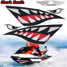 Top Quality 2Pcs Kayak Sticker Decal Funny Sticker Car Canoe Boat Kayak Shark Teeth Mouth Eyes Sticker 38x13cm Boat Accessories(China)