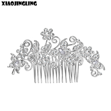 XIAOJINGLING New European Design Floral Wedding Hair Accessories Pearl Crystal Flower Bridal Hair Comb Wedding Hair Jewelry(China)