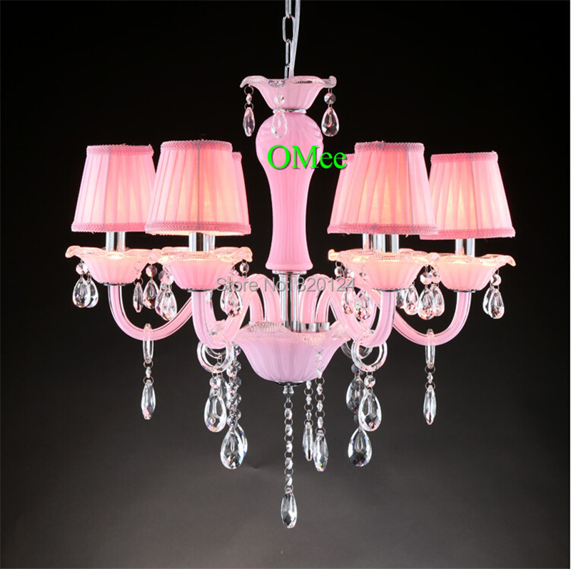 Romantic Pink 6 Head Crystal Chandelier Lighting Living Room Crystal Candle  Lamp Girl Bedroom Lustre De
