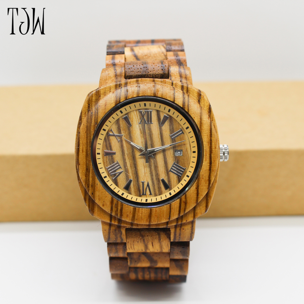 2017TJW sale wooden watch men fashion casual wood full natural wooden  wholesale 5pcs per lot with free shipping<br>
