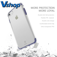 Baseus Cover for iPhone 7/ 7Plus Double Color Transparent Soft TPU Flexible TPE Protective Mobile Phone Back Case+ Glass Film