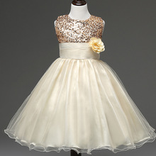 flower girl dress wedding sequin yellow 3 7 9 years ball gowns for infant girls princess costume elegant cheap girl party dress(China)