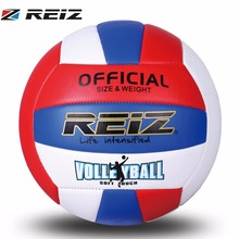 REIZ Professional Soft PU Volleyball Ball Competition Training Ball Men Women Official Size Weight Soft Touch Volleyball Ball(China)