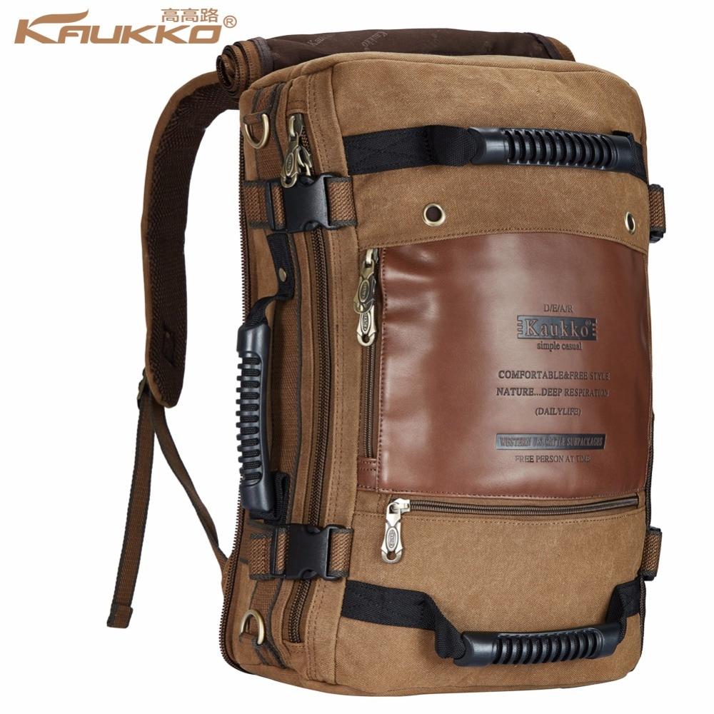 Kaukko Men backpack Canvas Huge Travel School Shoulder Computer Backpacking Functional Versatile Bags Multifunctional Laptop Bag<br>