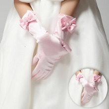 Bowknot Long Gloves Girls Weeding pink Red  White Color Stretch Cute Warm Party   Kids Stylish 1071