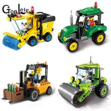 GonLeI ENLIGHTEN City Construction Road Roller Forklift Truck Tractor Sweeper Truck Building Blocks Kids Toy Compatible lepin