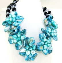 "Charm Blue Shell Mop Freshwater Pearl Beads 6Flowers Semi Precious Stone Necklace 18""(China)"