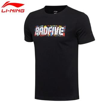 Li-Ning Men's Bad Five Basketball Jersey 100% Cotton Comfort Sports T-Shirt Short Tee AHSM183 MTS2010