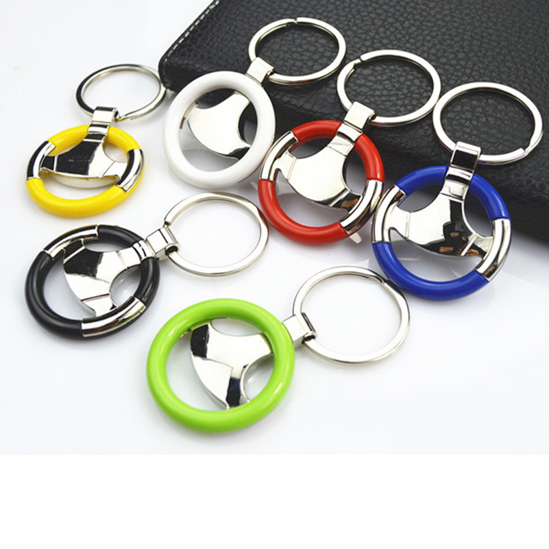 Novelty Steering Wheel Car Keychain Pendant Creative Car Key Chain Zinc Alloy Round Key Rings Personalized Gifts For Client(China)