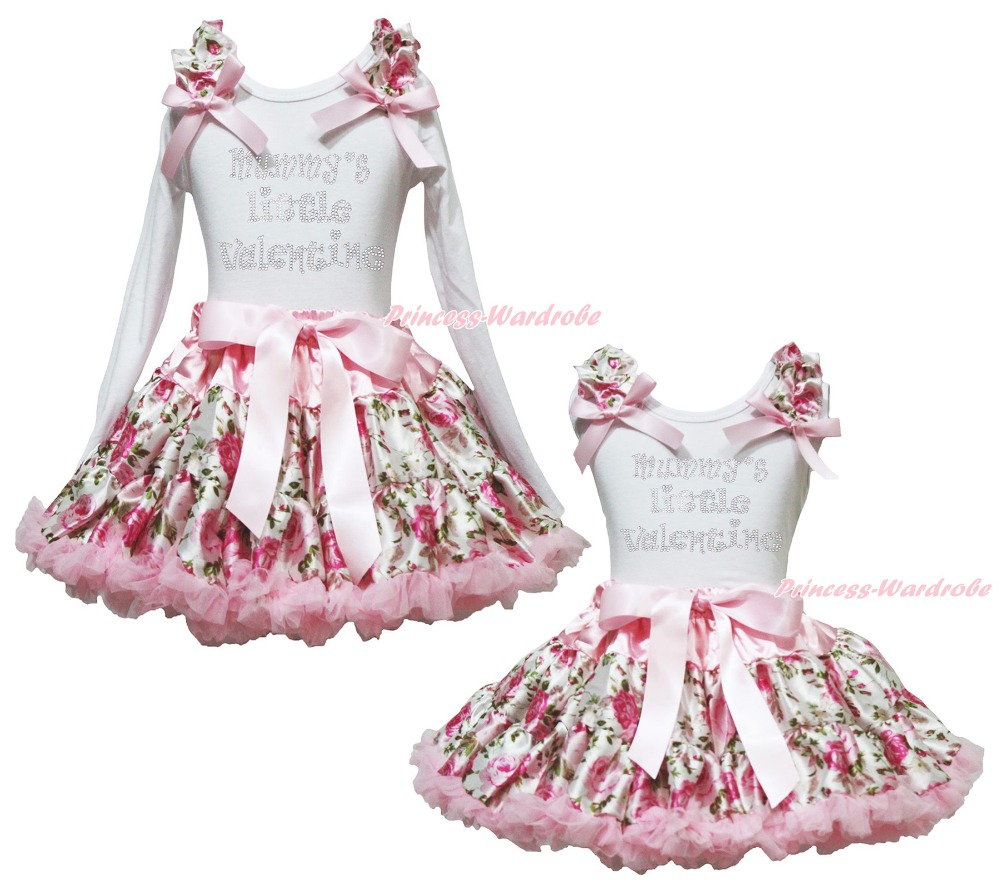Mummy Little Valentine Cotton White Top Rose Floral Girls Pettskirt Outfit 1-8Y<br>