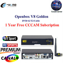 CCCAM GOTiT Openbox V8 Golden DVB-S2/ DVB-T2 DVB-C Receptor satellite Decoder 1year Europe cccam Cline 1 USB WIFI set top box