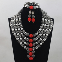 Silver/Red Bridal Jewelry Sets African Costume Nigerian Wedding Beads 2017 Hot Sale Balls Lace Jewlery Set Free ShippingABH025(China)