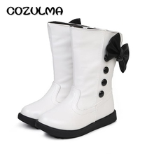 COZULMA Autumn Winter Kids Boots Girls Boots Children High Bow Tie Shoes Girls Pincess Dress Boots Big Kids Shoes(China)