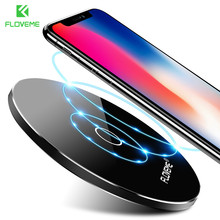 FLOVEME 10W QI Wireless Charger Pad Universal For iPhone X 8 Plus Ultra Thin 8mm Charging Pad For Samsung Note8 S8 Plus For LG(China)