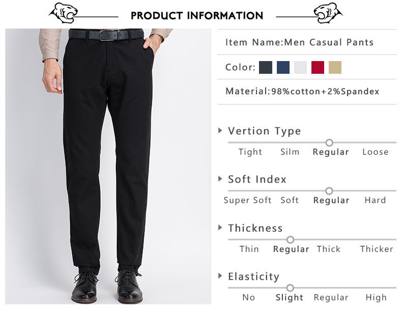 Spring Solid Mens Casual Pants Cotton Stretch Black Mens Slim Fit Long Trousers Fashion Zipper Fly High Quality Brand Clothing 2