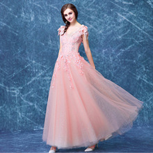 2017 100% Real Pic Long A Line Pink Evening Dresses Sleeveless Lace Flowers Crystals Sequined Party Prom Gown Free Shipping