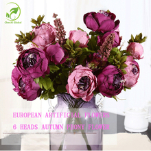 Artificial Flowers European Fall Vivid Peony Fake Leaf Silk Flower Autumn Peony Bouquet Wedding Suppliers Home Party Decorations(China)