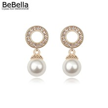BeBella gold color plated pearl dangler earrings made with Swarovski Elements