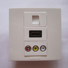 Brand New Electrical Socket White HDMI + RCA + RJ45 Network Standard Plug Outlet Multiple Wall Panel Free Shipping(China)