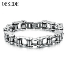 OBSEDE Charm Man Jewelry Biker Bicycle Motorcycle Chain Stainless Steel Men's Bracelets & Bangles Fashion Male Punk Silver Color(China)