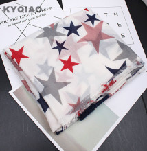 KYQIAO Scarf luxury brand women spring autumn South Korea fashion fresh long five-pointed star print scarf cape shawl muffler