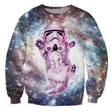 Women/Men Cat Trooper Crewneck Sweatshirt faceless enforcer Galactic Empire Funny cats sparkly stormtrooper helmet kitty Jumper